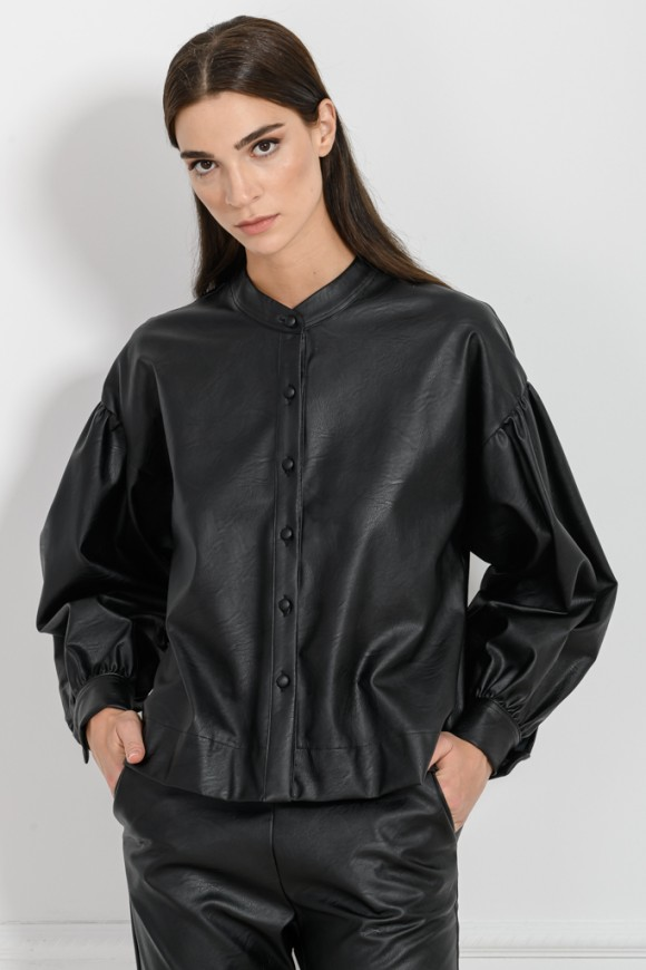 LEATHER LOOK SHIRT BLACK OS
