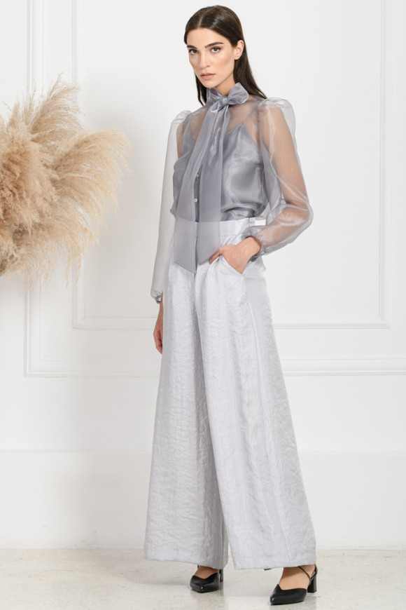 CROP FLARED PANTS SILVER