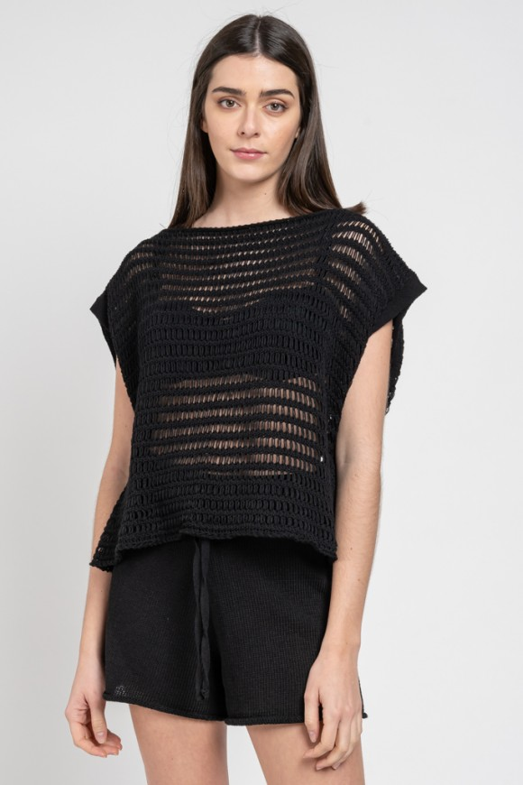 KNIT TANK TOP BLACK OS