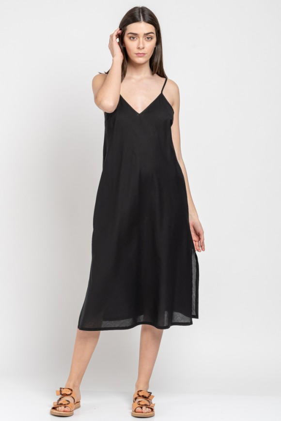 COTTON SLIP DRESS BLACK OS