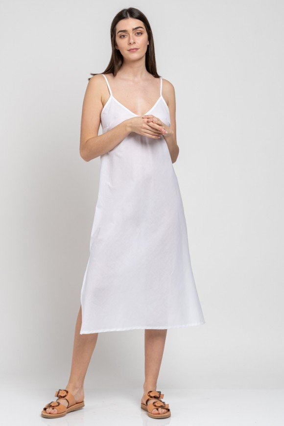 COTTON SLIP DRESS WHITE OS