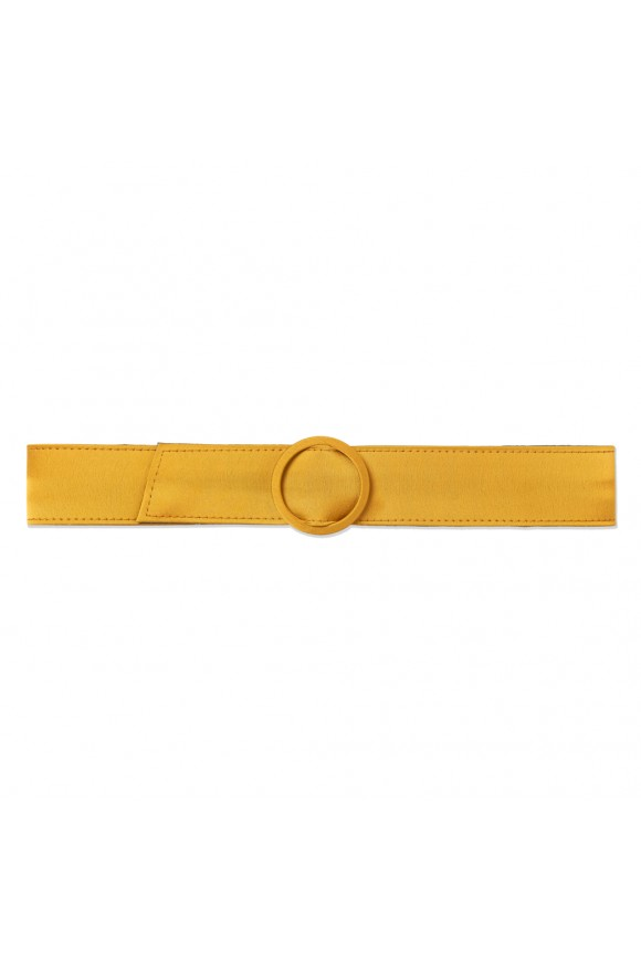 SATIN BUCKLE BELT MUSTARD OS