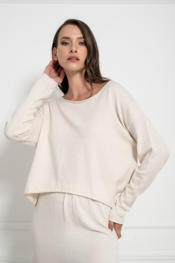 KNIT TOP OFF WHITE OS