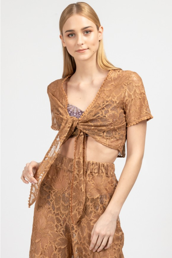 Lace Top Terracotta Os