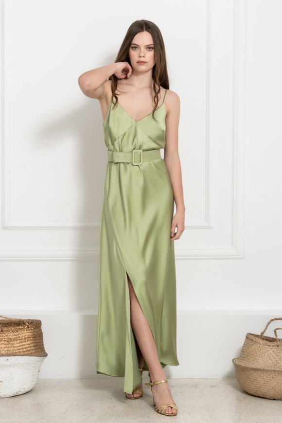 SATIN DRESS GREEN OS
