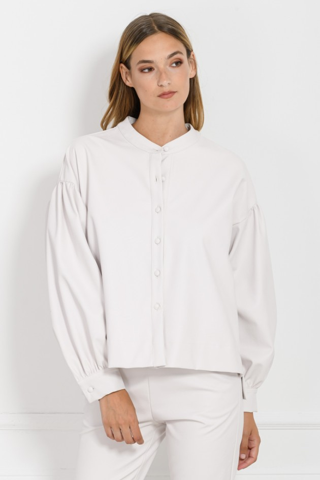 LEATHER LOOK SHIRT WHITE OS