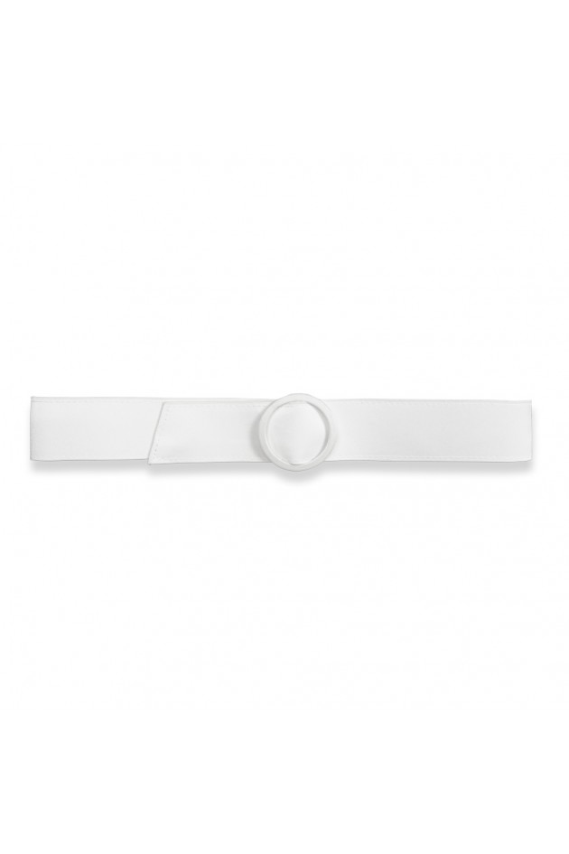Satin Buckle Belt White Os
