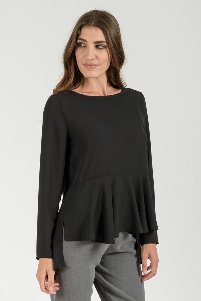 3bb7872ae330 Μπλούζα με Βολάν Μαύρη - γυναικεία ρούχα