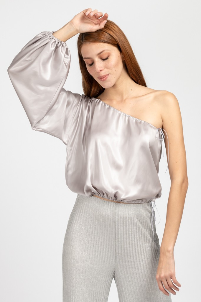 651ad6c41194 Μπλούζα Με Ένα Μανίκι Ασημί - γυναικεία ρούχα