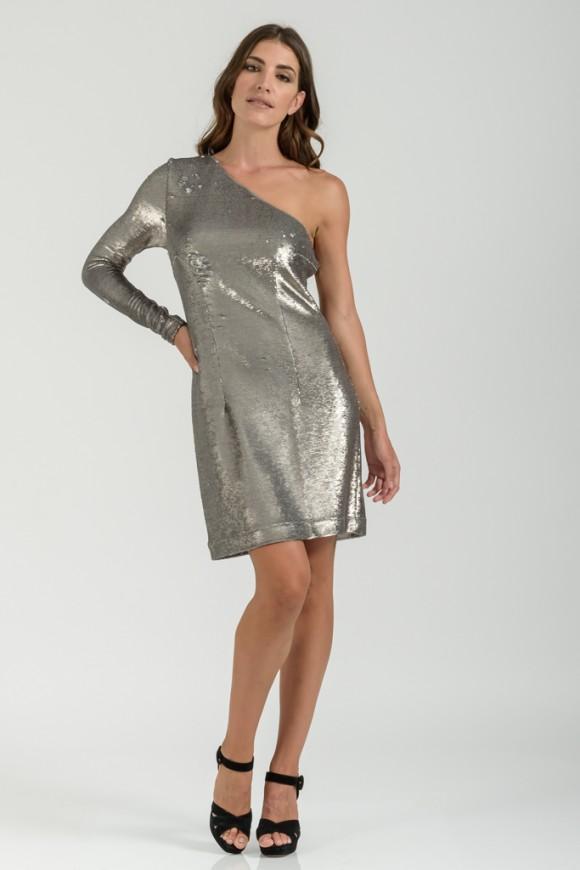 Φόρεμα Ασημί Με Έναν Ώμο