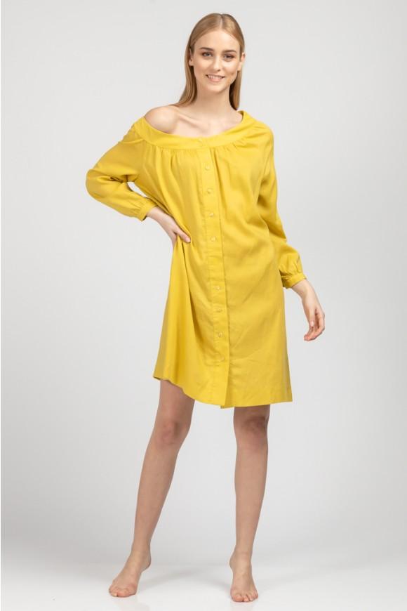Φόρεμα με λοξό ντεκολτέ ΜΟΥΣΤΑΡΔΙ